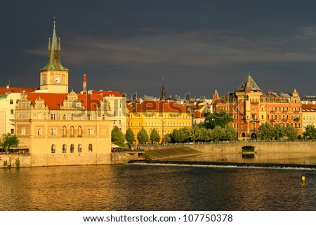 Prague city view across the river - stock photo