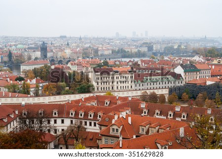 Prague city view. Autumn in Czech Republic.
