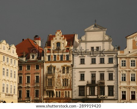 Prague city view photography. Medieval houses at Old Town Square. Bright facades. Architecture art  - stock photo