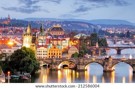 Prague cityscape at night - stock photo