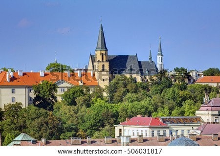 Prague cityscape in late afternoon sun, Czech republic. Photo taken at Vysehrad.