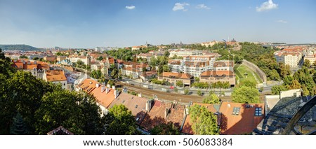 Prague cityscape panorama in an afternoon sun, Czech republic. Photo taken at Vysehrad.