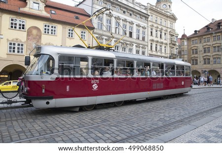 Prague,CZ,August,31st,2016, Red and White Tram in Prague Czech Republic