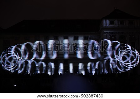 PRAGUE, CZ - OCTOBER 15, 2016: a 3D videomappaing installation Mutis by Tigrelab projected at the historic building Tyrs house (Tyrsuv dum, also Palac Michny z Vacinova) at signal light fest.No audio