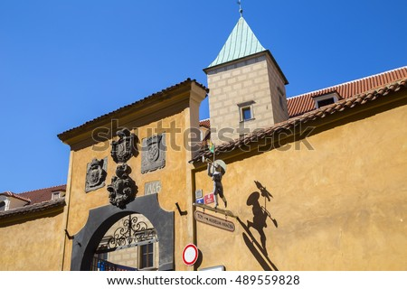 Prague, Czech - August 27, 2016 : beautiful colorful architecture in Prague Castle, Prague, Czech