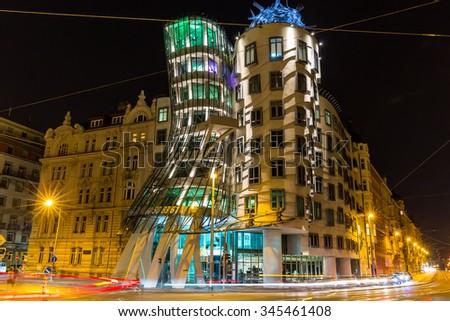 Prague, Czech-August 10, Prague Dancing House, August 10.2015 in Prague, Czech Republic - stock photo