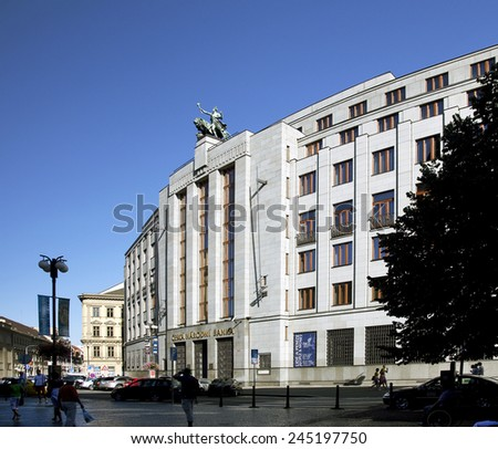 PRAGUE - CZECH NATIONAL BANK - JULY 27, 2009: The building of the headquarter of Czech National Bank is located on Prikopy and Hybernska strees. Bank was established in January 1993. - stock photo