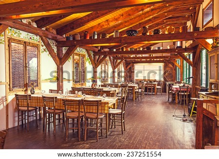 Prague, Czech - October 20, 2014: Serbian restaurant in heart of Prague, traditional interior design, with name Biogurmania - Jelica Restaurant.  - stock photo