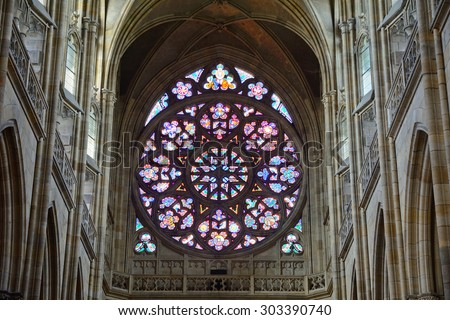 PRAGUE, CZECH REP. - JULY 21: St. Vitus Cathedral on July 21, 2015 at Prague, Czech Rep. St. Vitus Cathedral is the coronation church and the resting place of medieval Bohemian kings. - stock photo