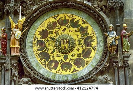 PRAGUE, CZECH REP. - JULY 11: The Astronomical Clock Tower on July 11, 1999 at Prague, Czech Rep. The clock tower is the most famous landmark of Prague. - stock photo