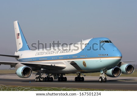 PRAGUE, CZECH REPUBLIC - APRIL 8: Air Force One taxis around PRG airport on April 8. 2010 in Prague. President Obama is expected to sign strategic agreement 'START' between US and Russia. - stock photo
