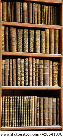 PRAGUE, CZECH REPUBLIC - APRIL 4, 2016: Antique books in the Library of Prague, Czech Republic.