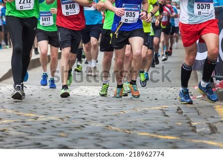 Prague, Czech  Republic - April 04, 2014, Half Marathon Praha - stock photo