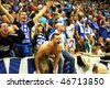 PRAGUE, CZECH REPUBLIC - APRIL 5: Iraklis team supporters watch the volleyball game of Final Four CEV Indesit Champions League at O2 Arena on April 5, 2009 in Prague, Czech Republic. - stock photo