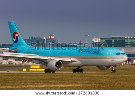 PRAGUE, CZECH REPUBLIC - APRIL 10: Korean Air Airbus A330 lands at PRG Airport on April 10, 2015. Korean Air is the flag carrier and the largest airline of South Korea. - stock photo
