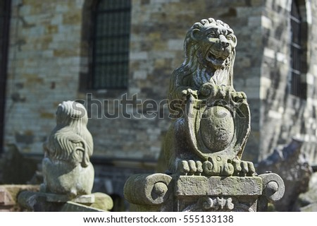 PRAGUE, CZECH REPUBLIC - APRIL 24, 2014: Lion â?? herald on gravestone of Hendl Bassevi. Tombstones on Old Jewish Cemetery in the Jewish Quarter in Prague.