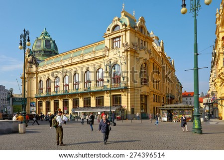 Prague, Czech Republic - April 23, 2015: Municipal House (Smetana Hall) with unidentified people on April 23, 2015 in Prague. The City is home to many cultural attracts in historic centre - stock photo