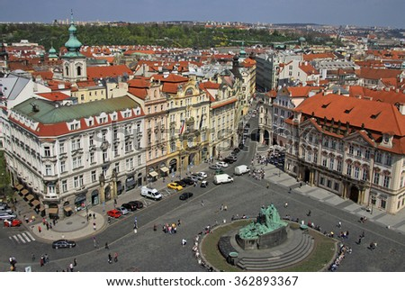 PRAGUE, CZECH REPUBLIC - APRIL 24, 2013: Old Town Square with Jan Hus Monument, Prague