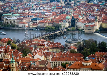 PRAGUE, CZECH REPUBLIC - APRIL 8, 2017: Panoramic view of Charles Bridge and Prague Old Town from Petrin Tower