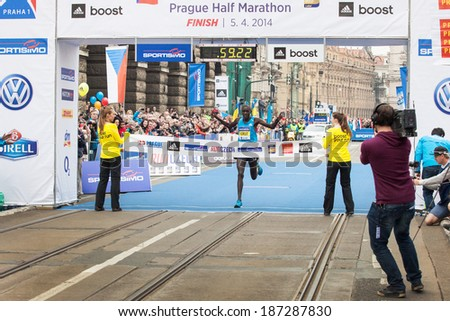 Prague, Czech Republic - April 5, 2014, runner  Cheruiyot Kirui the winner of the Half Marathon Praha - stock photo