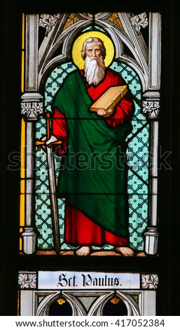 PRAGUE, CZECH REPUBLIC - APRIL 2, 2016: Stained Glass window in St. Vitus Cathedral, Prague, depicting Saint Paul