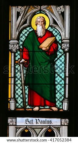 PRAGUE, CZECH REPUBLIC - APRIL 2, 2016: Stained Glass window in St. Vitus Cathedral, Prague, depicting Saint Paul - stock photo