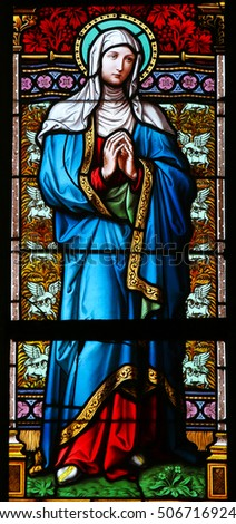 PRAGUE, CZECH REPUBLIC - APRIL 2, 2016: Stained Glass window in St. Vitus Cathedral, Prague, depicting Saint Ludmila