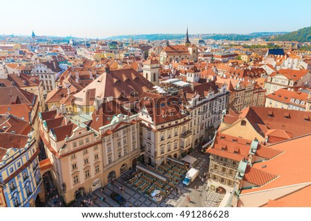 Prague. Czech Republic. Architecture cityscape and roofs top view of the city