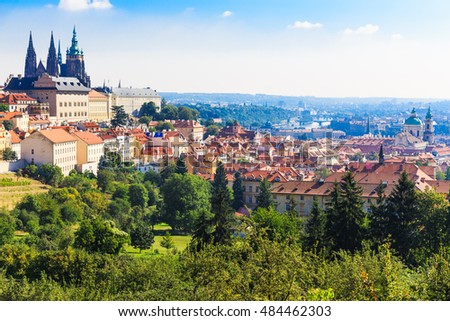 Prague. Czech Republic. Architecture cityscape of top view of the city. In the background St. Vitus Cathedral