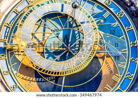 Prague, Czech Republic. Astronomical Clock (Prague Orloj), on the southern wall of Old Town City Hall in Stare Mesto. - stock photo
