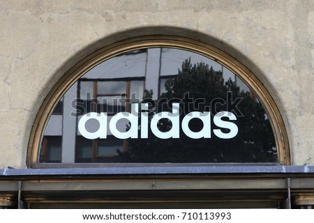 Prague, Czech Republic - August 27, 2017: Adidas logo. Adidas is a German multinational corporation, that designs and manufactures shoes, clothing and accessories.