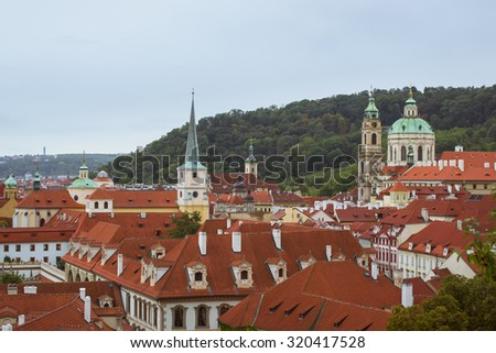 PRAGUE, CZECH REPUBLIC - AUGUST 25, 2015: Panorama of the Church of St. Nicholas (Kostel svateho Mikulase na Male Strane) in Prague, Czech Republic