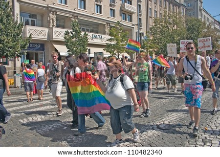 PRAGUE, CZECH REPUBLIC - AUGUST 18: Participants and spectators at the second Prague Pride Parade, on August 18, 2012 in Prague, Czech Republic