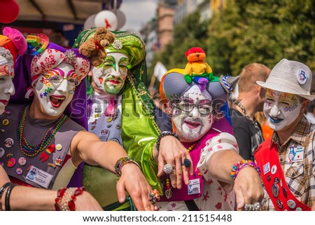 PRAGUE, CZECH REPUBLIC - AUGUST 16, 2014: Participants of the Prague Pride Parade, a festival of tolerance and against homophobia in Czech Republic - stock photo