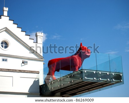 PRAGUE, CZECH REPUBLIC – AUGUST 18: Red bulldog is one of the exhibits at Kampa Museum of Modern Art in Prague on August 18, 2008. Exhibitions include collections of Eastern Bloc and modern Cz culture