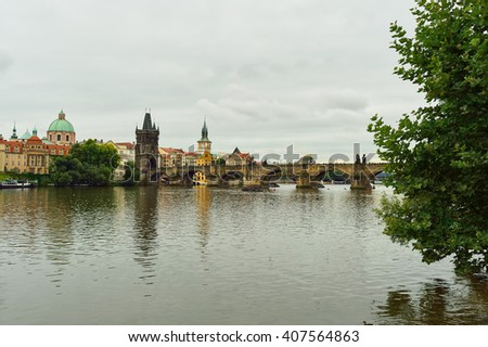 PRAGUE, CZECH REPUBLIC - AUGUST 18, 2015: view on Vltava river. The Vltava is the longest river within the Czech Republic