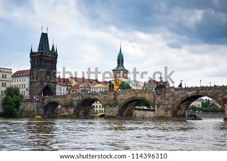 Prague, Czech Republic, Charles Bridge across Vltava river - stock photo