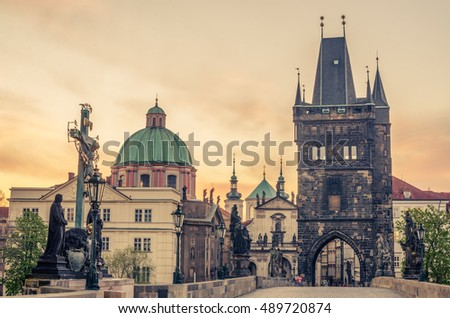 Prague, Czech Republic: Charles or Karluv Bridge in the beautiful sunrise