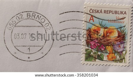 PRAGUE, CZECH REPUBLIC - CIRCA DECEMBER 2015: stamp from the Czech Republic bearing Happy Easter greetings (Vesele Velikonoce) - stock photo
