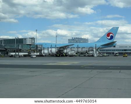 PRAGUE, CZECH REPUBLIC - CIRCA JULY 2016: World 2nd biggest passenger aircraft Boeing 747 Jumbo of the Korean Air at Vaclav Havel international airport - stock photo