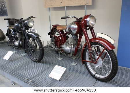 PRAGUE/CZECH REPUBLIC - CIRCA MAY 2016: Bikes JAWA in a museum.