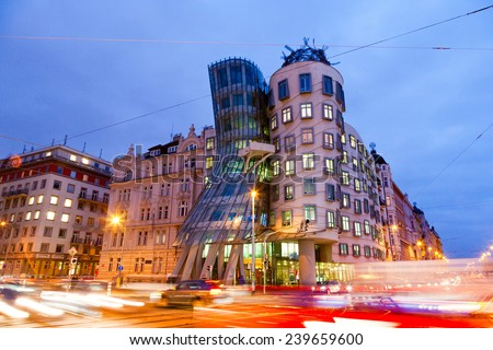 PRAGUE, CZECH REPUBLIC - DEC 1 - Dancing House (called Ginger nad Fred) on December 1, 2014 in Prague, Czech republic. Built by Vlado Milunic and Frank Gehry in 1992-1996. - stock photo