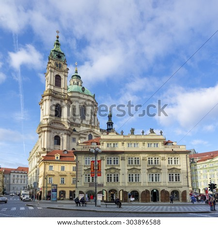 PRAGUE, CZECH REPUBLIC - DECEMBER 23, 2014: Church of saint Nicholas. Prague is considered one of the most beautiful cities in Europe and the historical center is on the UNESCO World Heritage List