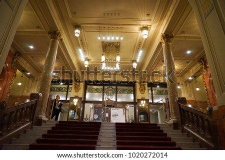 PRAGUE, CZECH REPUBLIC - 25 December 2017. Main foyer of the Municipal House, a civic building that houses Smetana Hall, a celebrated concert venue.