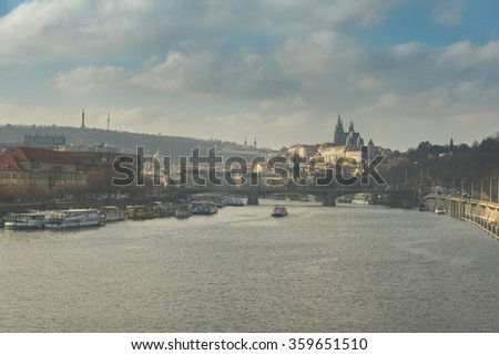 PRAGUE, CZECH REPUBLIC: December 30, 2015 - Prague Castle seen from Vltava river in Prague, Czech Republic.