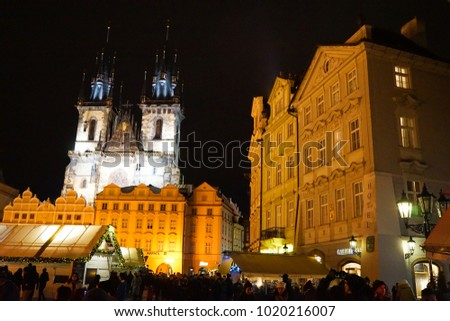PRAGUE, CZECH REPUBLIC - 25 December 2017. The popular Prague Christmas Markets that take place annually in the Old Town Square