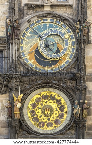PRAGUE,CZECH REPUBLIC, EU  JULY 06, 2014: Astronomical clock on the facade of the Old Hall Old Town Square