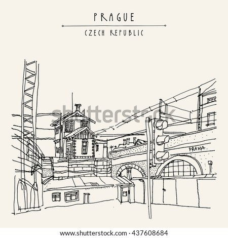 Prague, Czech republic, Europe. Artistic hand drawn illustration of old industrial buildings near bus station. Steam punk postcard or poster template, book illustration