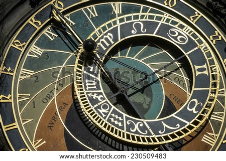 PRAGUE, CZECH REPUBLIC/EUROPE - SEPTEMBER 24 : Astronomical clock at the Old Town City Hall in Prague on September 24, 2014