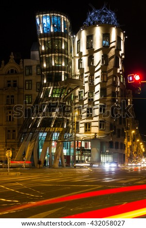 Prague, Czech Republic. Famous Dancing House, Fred and Ginger House illunination.